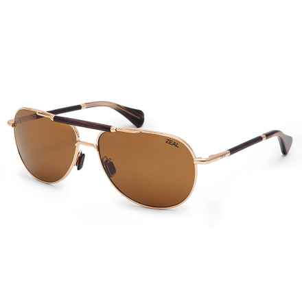 Zeal Barstow Polarized Sunglasses - Polarized Ellume Lenses in Polished Gold/Copper - Closeouts