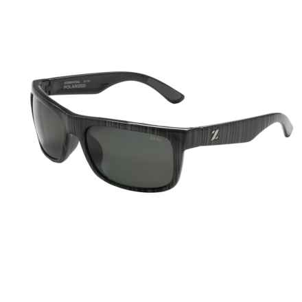 Zeal Essential Sunglasses - Polarized in Black Wood Grain/Dark Grey - Closeouts