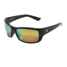 Zeal Tracker Sunglasses - Polarized, Mirrored Lenses in Polished Black/Gold Mirror - Closeouts
