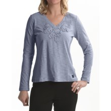 Zen 101 by Tribal Sportswear Floral Applique Shirt - Cotton Slub, Long Sleeve (For Women) in Bleu Ice
