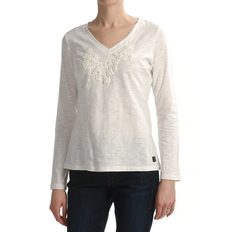 Zen 101 by Tribal Sportswear Floral Applique Shirt - Cotton Slub, Long Sleeve (For Women) in Marshmallow