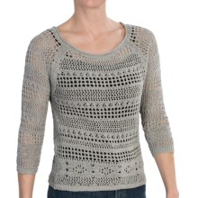 Zena Essentials Crocheted Sweater - 3/4 Sleeve (For Women) in Sage - Closeouts