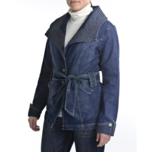 Zenim Denim Trench Jacket - 3/4 Length (For Women) in Medium Wash - Closeouts