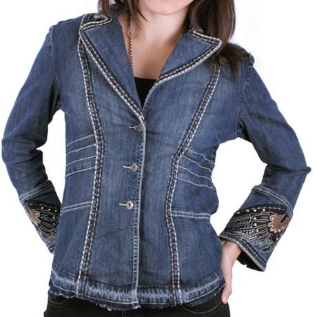 Zenim Embellished Wings Denim Jacket (For Women) in Sanded Denim