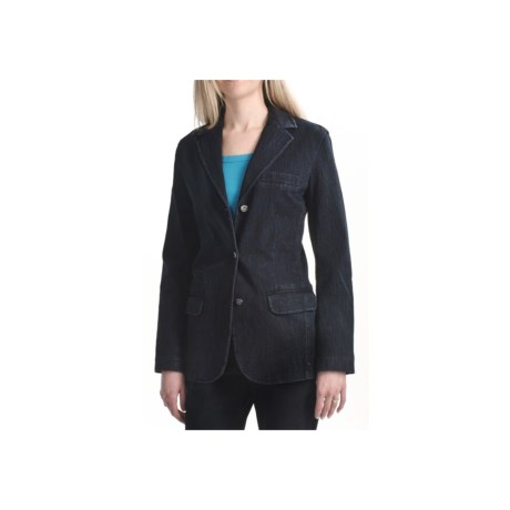 Zenim Knit Denim Blazer - Stretch Cotton (For Women) in Black