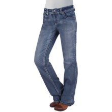 Zenim Lotus Bootcut Jeans - Mid Low Fit, Stretch Cotton (For Women) in Light Faded Wash - Closeouts