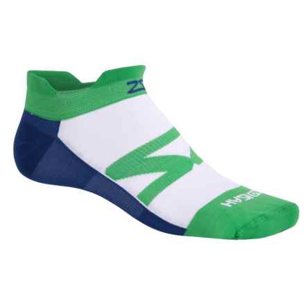 Zensah Invisi Running Socks - Below the Ankle (For Men and Women) in Green Navy - Closeouts
