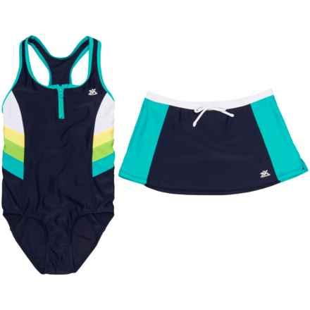 ZERO EXPOSURE ZeroXposur Futurama Scuba Swimsuit with Skirt - Zip Neck (For Big Girls) in Fiji - Closeouts