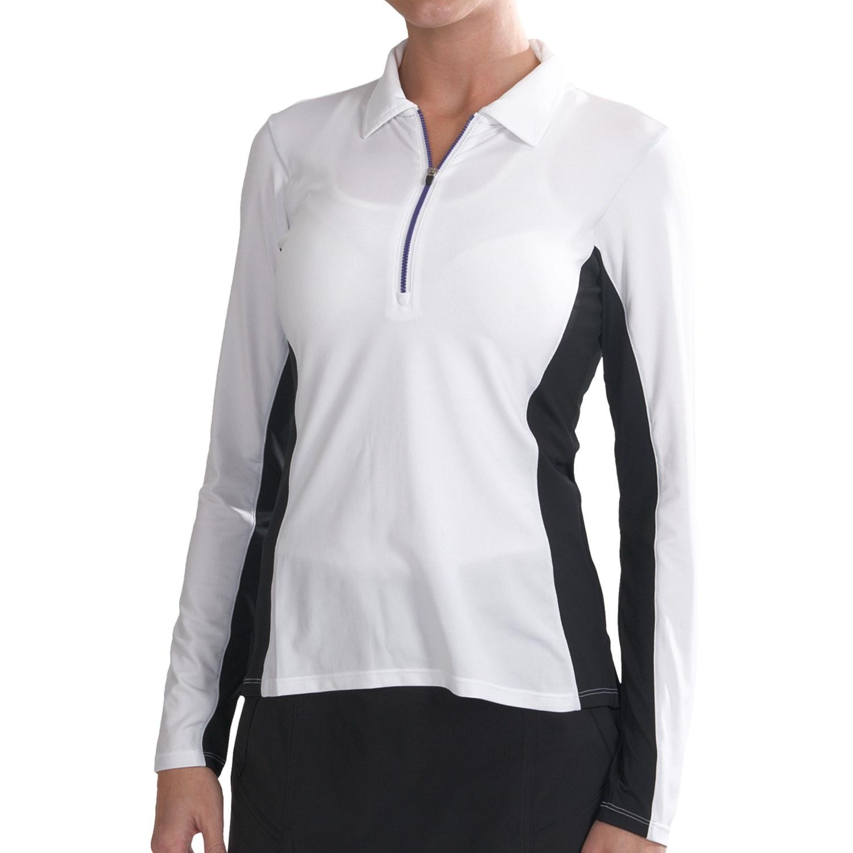 Zero restriction anna polo shirt zip neck long sleeve for Women s long sleeve polo shirts sale