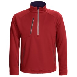 Zero Restriction Draw Pullover - Zip Neck, Textured Knit, Long Sleeve (For Men) in Mars Red