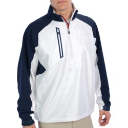 Zero Restriction Mix Wind Pullover Jacket - Zip Neck (For Men) in White/Navy