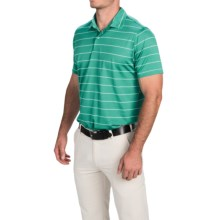 Zero Restriction Pencil Stripe Pique Polo Shirt - Short Sleeve (For Men) in Sea Green/White - Closeouts