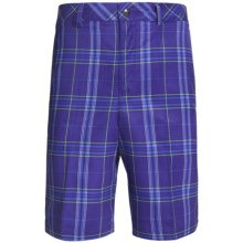 Zero Restriction Plaid Tech Shorts (For Men) in Royal - Closeouts