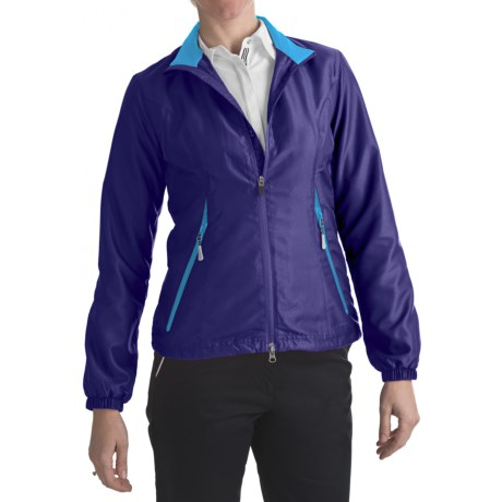 Zero Restriction Power Torque Wind Jacket (For Women) in Blueberry/Turquoise