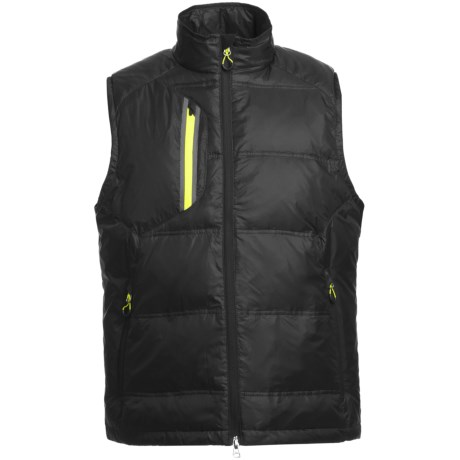 Zero Restriction White Goose Down Vest (For Men) in Black/Chartreuse