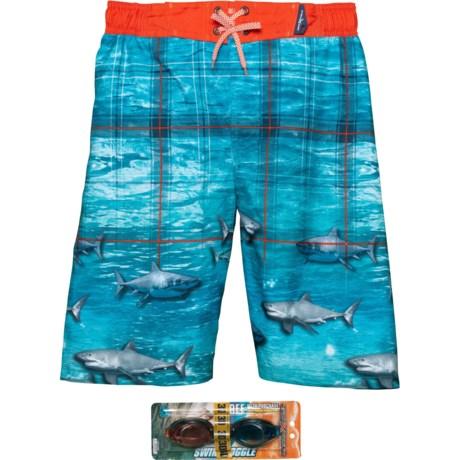 639b7490b3 ZeroXposur 3D Deep Sea Plaid Swim Trunks - UPF 50+, Goggles, Built-