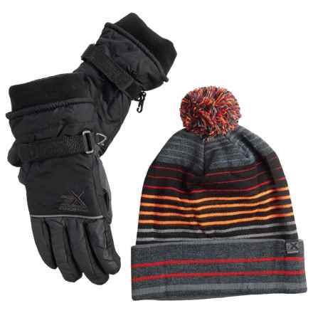 ZeroXposur Boyce Beanie and Gloves Set - Insulated (For Big Boys) in Slate - Closeouts