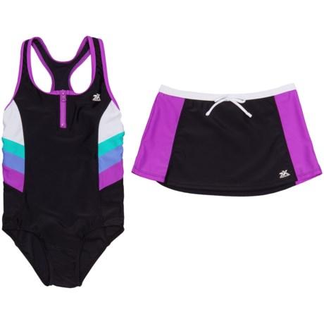 ZeroXposur Futurama Scuba Swimsuit with Skirt - Zip Neck (For Big Girls) in Beet