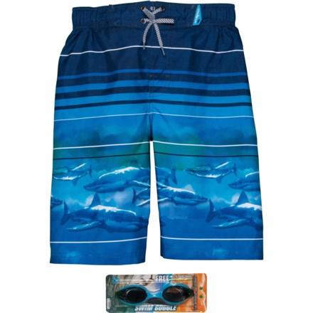 bd9760995e ZeroXposur Neon Shark Swim Trunks - UPF 50+, Goggles, Built-In Brief