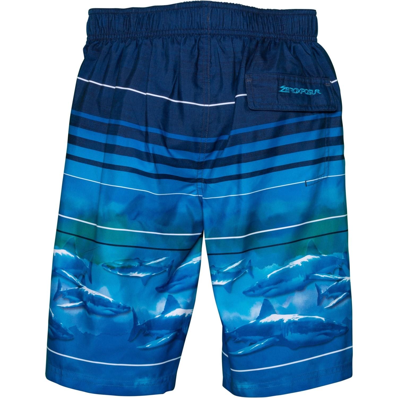 ed455adcc9 ZeroXposur Neon Shark Swim Trunks - UPF 50+, Goggles, Built-In Brief (For  Big Boys)