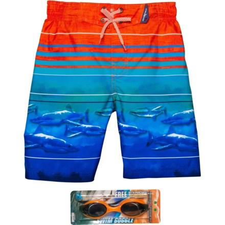 c8b19642c3 ZeroXposur Neon Shark Swim Trunks - UPF 50+, Goggles, Built-In Brief