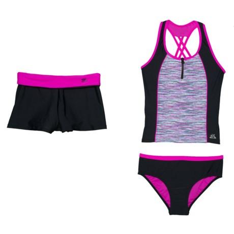 2bc8fda69aa17 ZeroXposur Secret Code Tankini Set and Shorts - Racerback (For Big Girls)  in Aurora