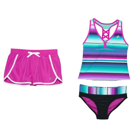 d67a56e675ee1 ZeroXposur Striped Sunrise Tankini Set and Shorts - Racerback (For Big Girls)  in Aurora