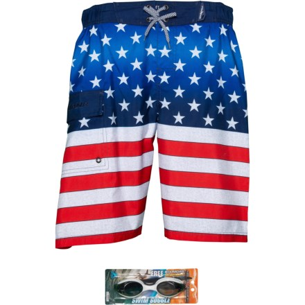 f2143dfc4e ZeroXposur Woven Americana Swim Trunks - UPF 50+, Goggles, Built-In Brief