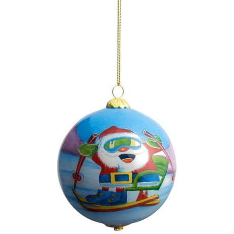 Zhen Zhu Holiday Ornament - Hand-Painted Glass in Santa Skiing