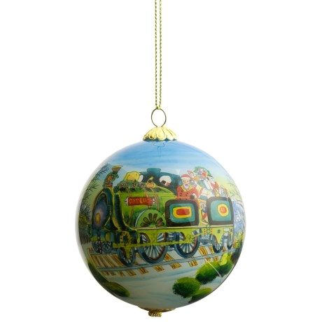 Zhen Zhu Holiday Ornament - Hand-Painted Glass in Santa Train