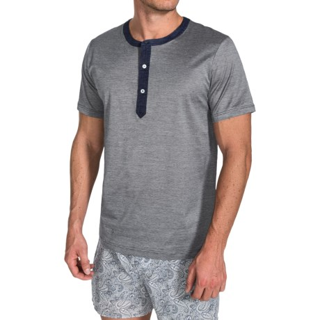 Zimmerli 100% Cotton Henley Shirt Short Sleeve (For Men)