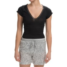 Zimmerli Madison Cotton V-Neck Shirt - Short Sleeve (For Women) in Black - Closeouts