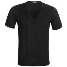 Zimmerli Mercerized Cotton T-Shirt - V-Neck, Short Sleeve (For Men) in Black - Closeouts