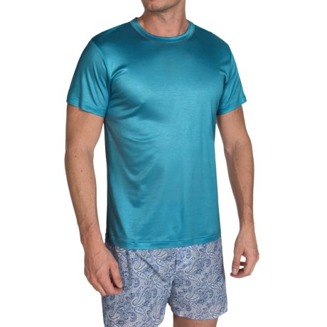 Zimmerli Modal Solid Shirt Crew Neck Short Sleeve For Men