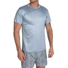 Zimmerli Modal Solid Shirt - Crew Neck, Short Sleeve (For Men) in Sky Blue - Closeouts