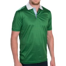 Zimmerli of Switzerland Contrast Collar Polo Shirt - Short Sleeve (For Men) in Green - Closeouts