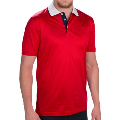 Zimmerli of Switzerland Contrast Collar Polo Shirt Short Sleeve (For Men)