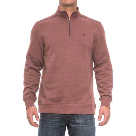 Zip Neck Solid Sweatshirt (For Men) in Fig - Closeouts