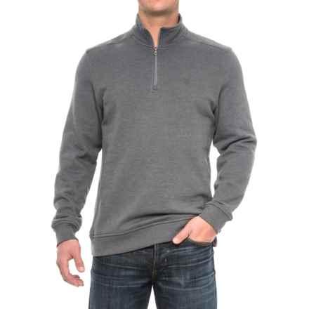 Zip Neck Solid Sweatshirt (For Men) in Grey - Closeouts