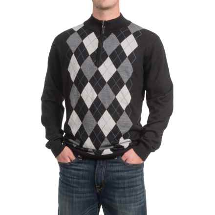 Zip Neck Sweater (For Men) in Black/Grey/Blue Argyle - 2nds