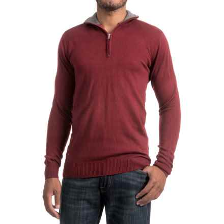 Zip Neck Sweater (For Men) in Mulberry - 2nds