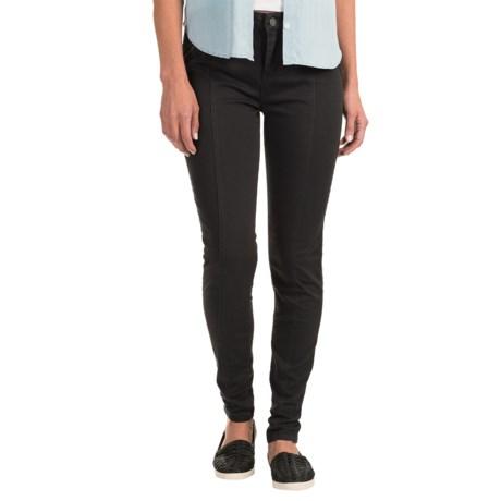 Zipper-Trim Stretch Skinny Jeans (For Women) in Black