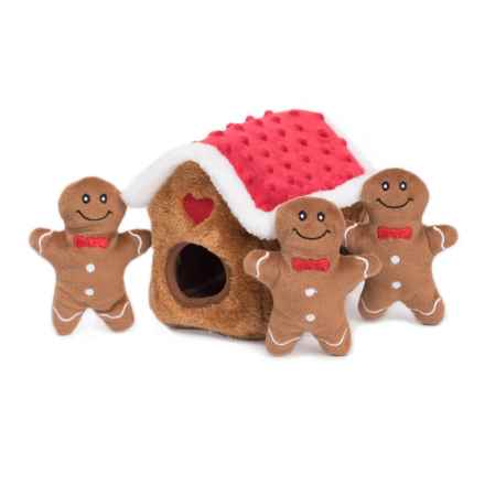 ZippyPaws Gingerbread House Burrow Dog Toy in Holiday - Closeouts