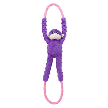ZippyPaws Monkey Ropetugz Squeaker Dog Toy in Purple