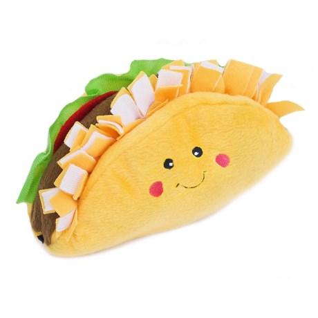 ZippyPaws NomNomz Taco Dog Toy - Squeaker in Yellow