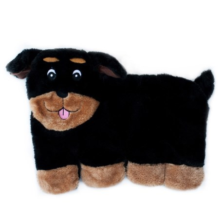 ZippyPaws Squeakie Pup Rottweiler Dog Toy in Black/Brown