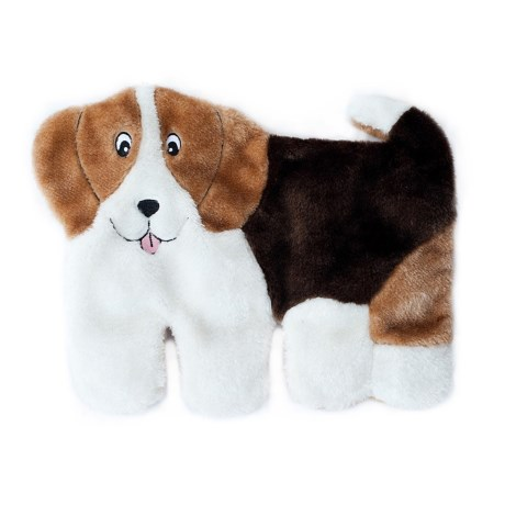 ZippyPaws Squeakie Pups Beagle Dog Toy in White/Brown