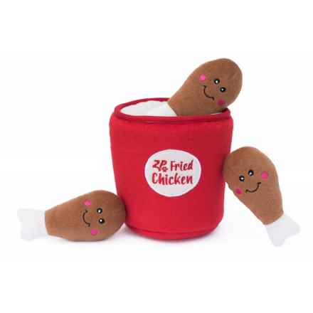 ZippyPaws Zippy Burrow Bucket and Chicken Dog Toy in Red - Closeouts