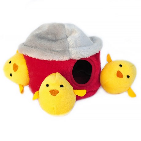 ZippyPaws Zippy Burrow Chicken Hut Dog Toy in Red/Yellow