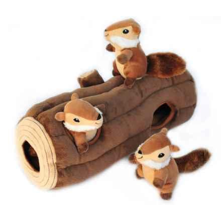 ZippyPaws Zippy Burrow Chipmunk Log Dog Toy in Brown - Closeouts